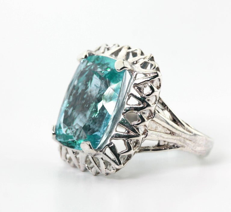 Cushion Cut Unique Custom 8.25 Carat Aquamarine Cocktail Ring For Sale