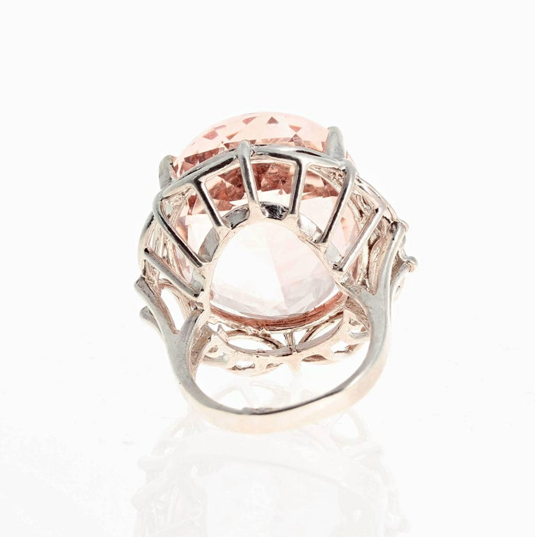 30 Carat Morganite Sterling Silver Ring For Sale 1