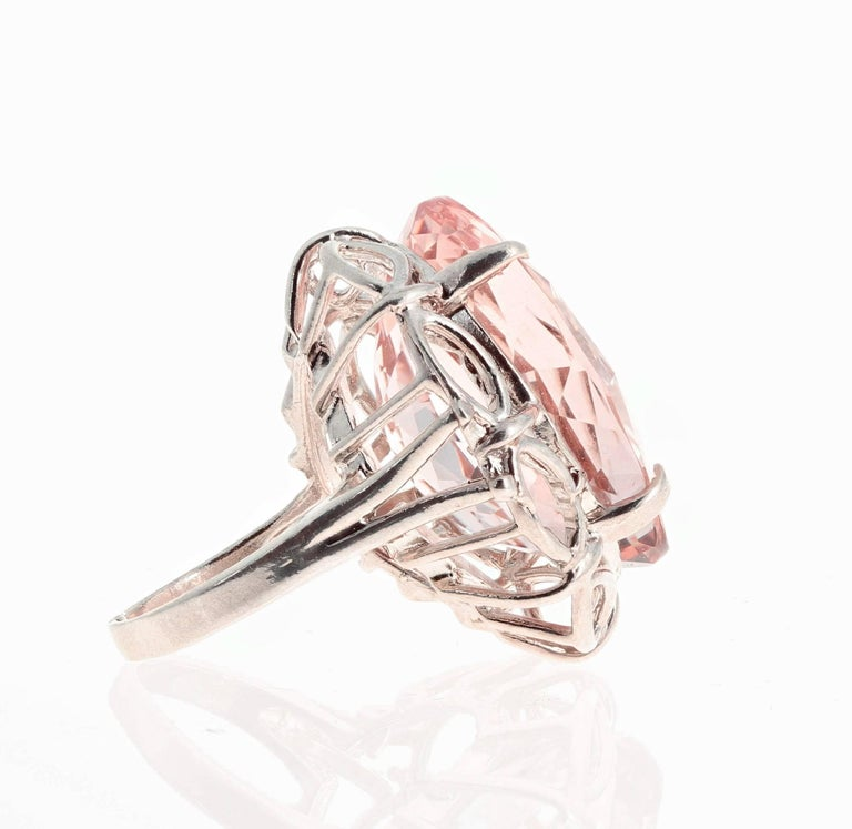 30 Carat Morganite Sterling Silver Ring For Sale 2