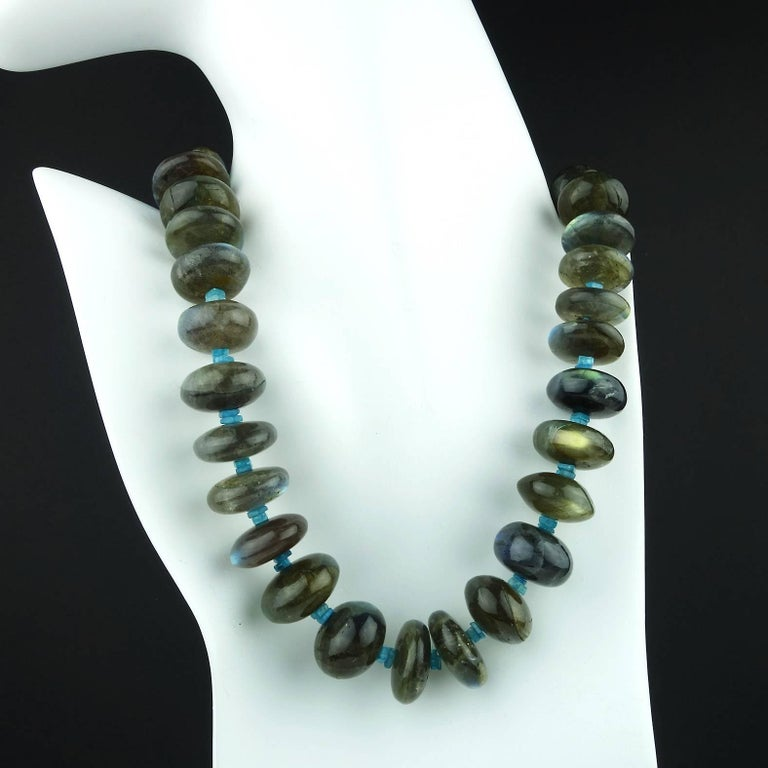 Labradorite Rondel Choker Necklace In New Condition For Sale In Tuxedo Park, NY