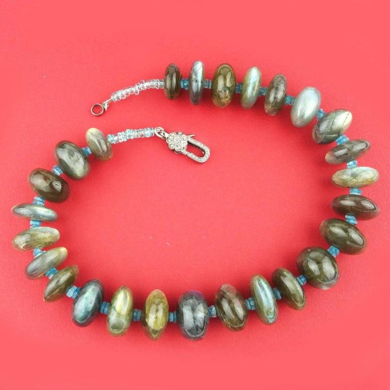 Labradorite Rondel Choker Necklace For Sale 2