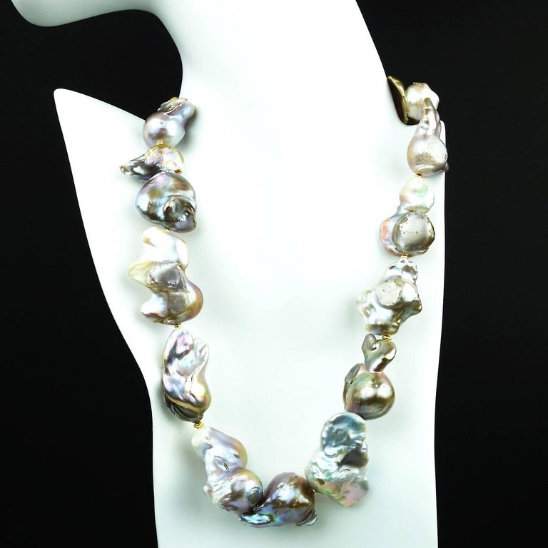 Artisan Baroque Silver Pearl Necklace For Sale