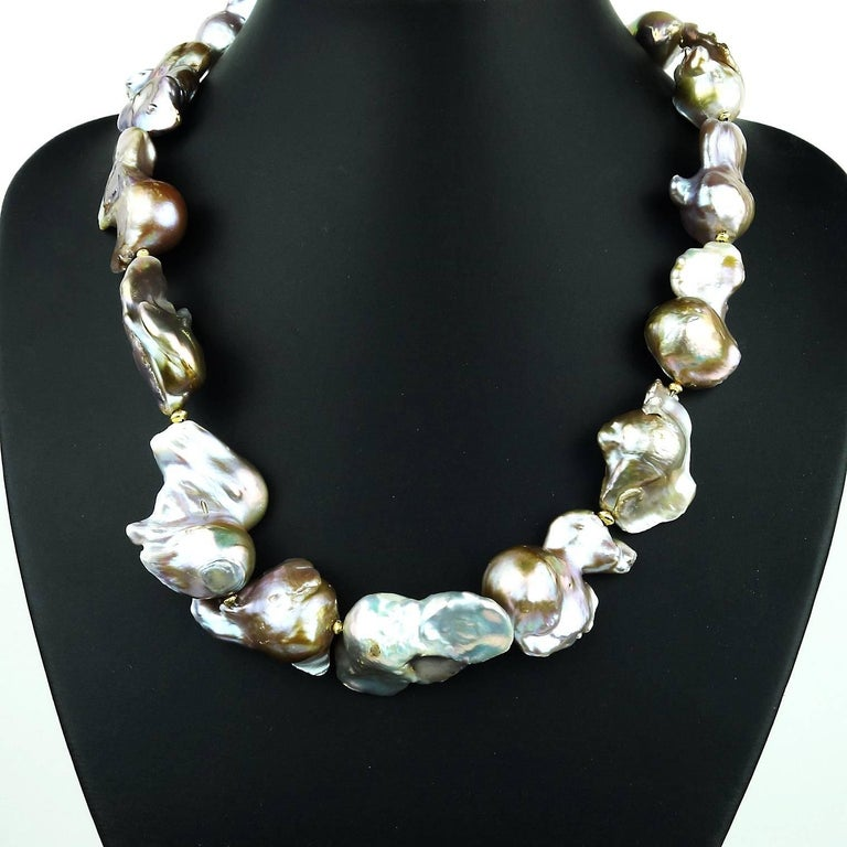 Baroque Silver Pearl Necklace In New Condition For Sale In Tuxedo Park, NY