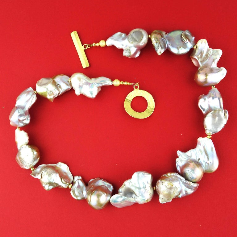 Baroque Silver Pearl Necklace For Sale 2