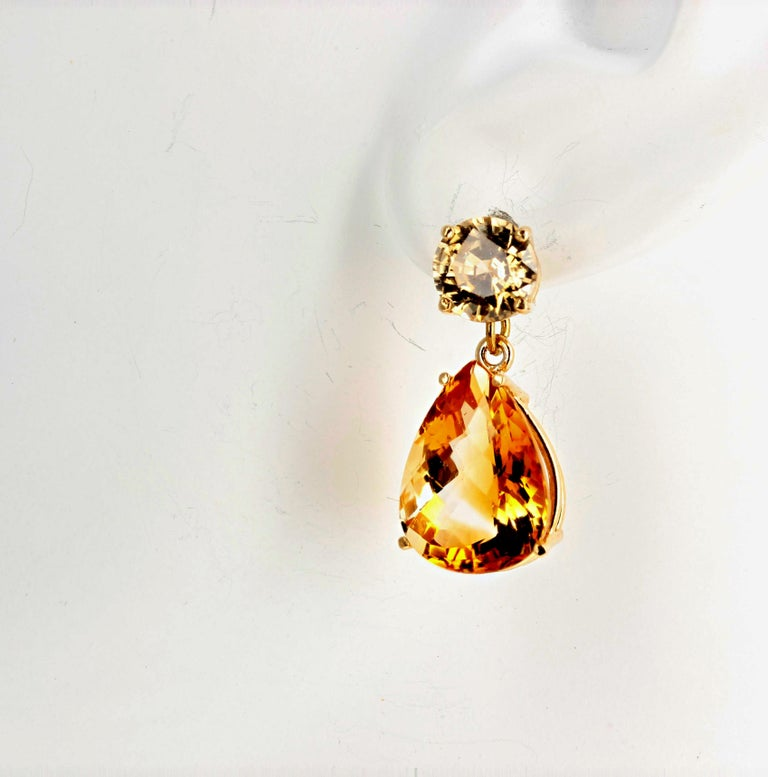 Unique Cusstom Citrines and Zircon Dangle Gold Stud Earrings In New Condition For Sale In Tuxedo Park, NY