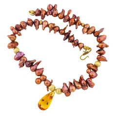 """Gemjunky Artisan Sophisticated 29Cts Fiery Pear Cut Citrine & Pearl 19"""" Necklace"""