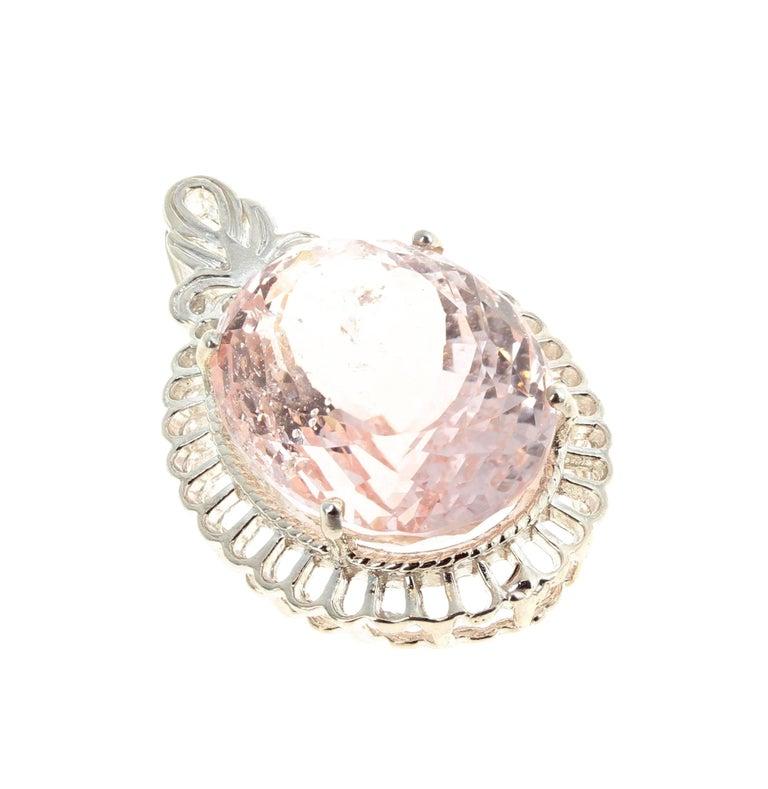 Women's Unique 25 Carat Morganite Sterling Silver Pendant For Sale