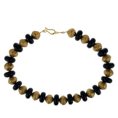 Gemjunky Elegant Black Onyx  and Antique Gold Bead Necklace