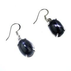Black Star Sapphire oval Earrings