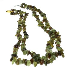 Gemjunky Green Garnet Chip  Continuous Necklace January Birthstone