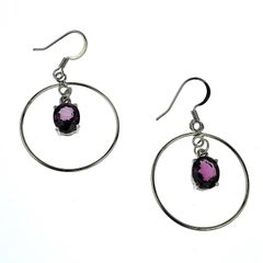 Gemjunky Sterling Silver Dangling Earrings with Purple Spinels