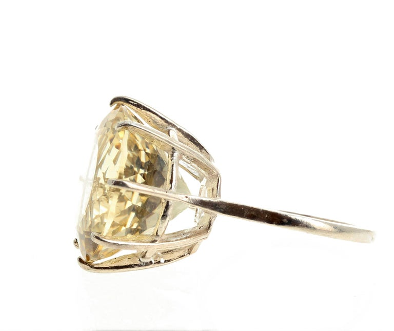 Huge Unique Yellow Labradorite Sterling Silver Ring For Sale 1