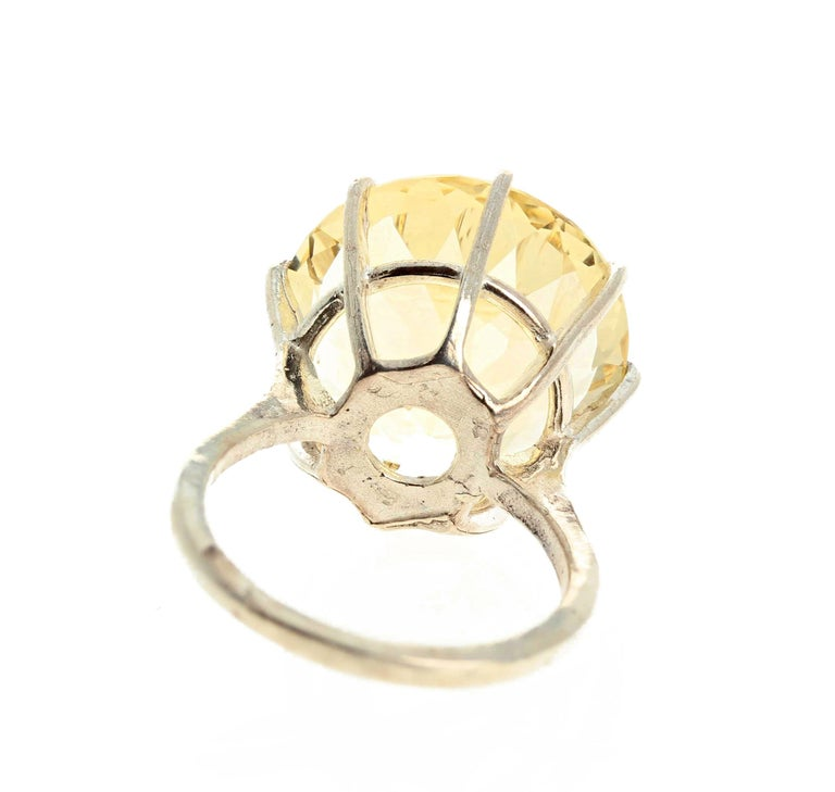 Women's or Men's Huge Unique Yellow Labradorite Sterling Silver Ring For Sale