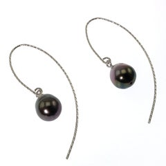 Elegant Iridescent Gray Baroque Pearl Dangle Earrings on Sterling Silver wires