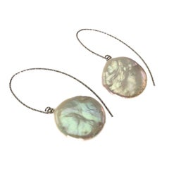 Smart Iridescent White Coin Pearl Dangle Earrings on Sterling Silver wires