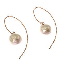 White Baroque Pearl Dangle Earrings with Rose Colored Sterling Silver Hooks