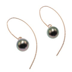 Elegant Earrings of Gray Round Pearls Dangling from Rose Sterling Silver hooks