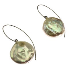 Elegant White Coin Pearl Dangle Earrings on Sterling Silver hooks