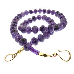 Glowing Cabochon Rondels of Purple Charoite and Sparkling Amethyst Necklace