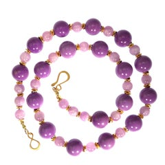 Necklace of Mauve Phosphosiderite and Kunzite Beads with Gold Accents