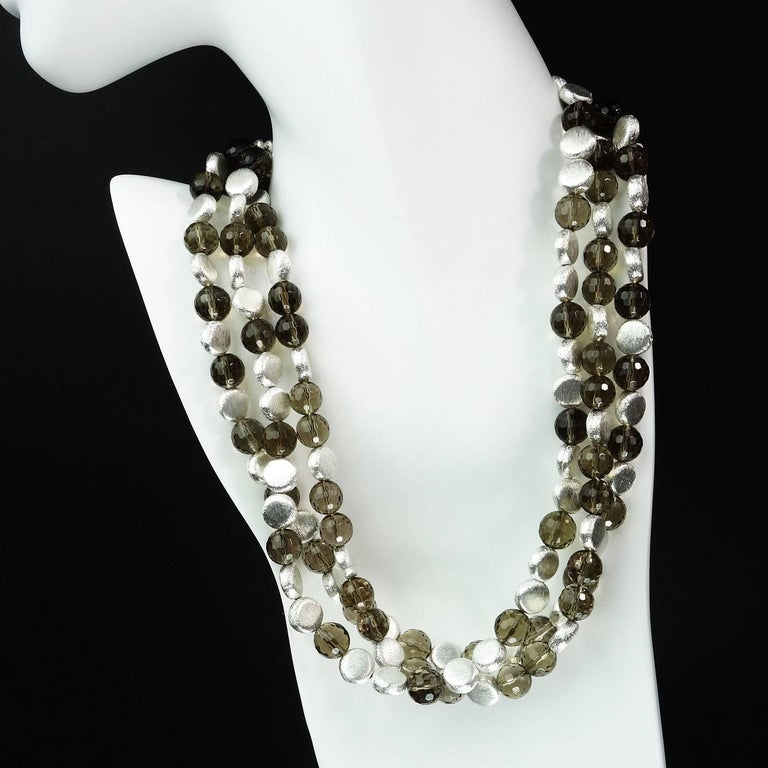 Triple Strand of Sparkling Round Faceted Smoky Quartz and Silver Necklace In New Condition For Sale In Tuxedo Park, NY