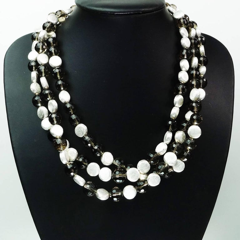 Women's Triple Strand of Sparkling Round Faceted Smoky Quartz and Silver Necklace For Sale