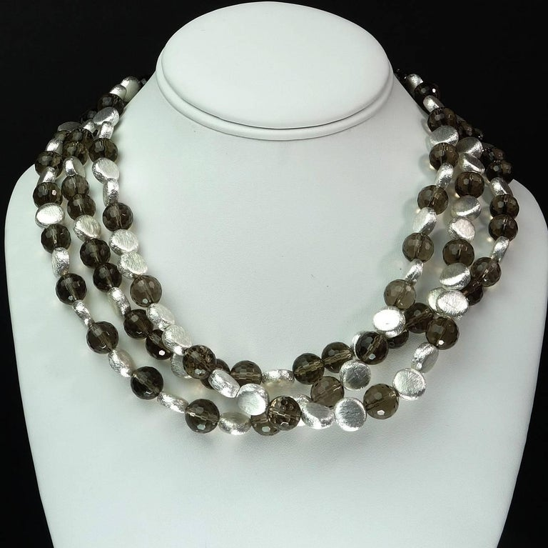 Triple Strand of Sparkling Round Faceted Smoky Quartz and Silver Necklace For Sale 1