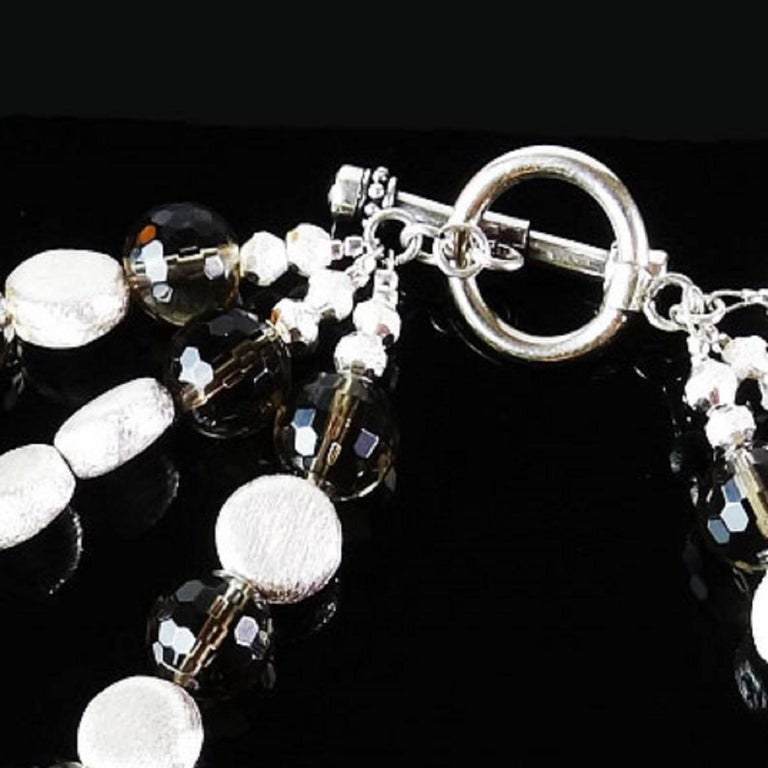 Triple Strand of Sparkling Round Faceted Smoky Quartz and Silver Necklace For Sale 2