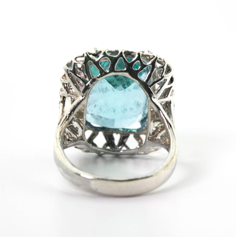 Unique Custom 8.25 Carat Aquamarine Cocktail Ring For Sale 1