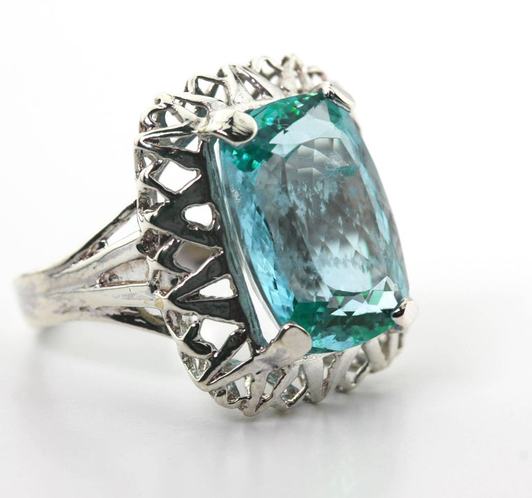 Unique Custom 8.25 Carat Aquamarine Cocktail Ring For Sale 3