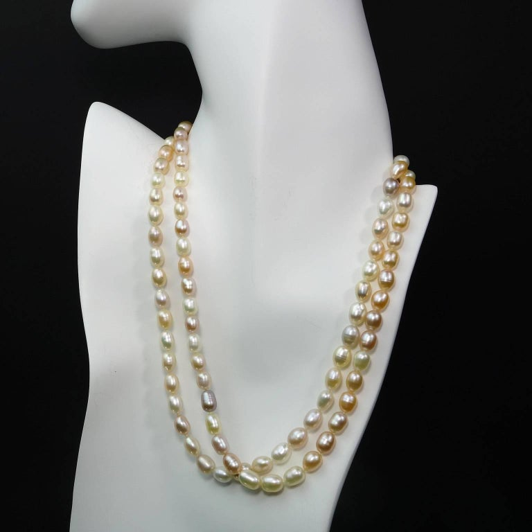 Peach Pearl Necklace: Double Strand Peach Color Freshwater Pearl Necklace For
