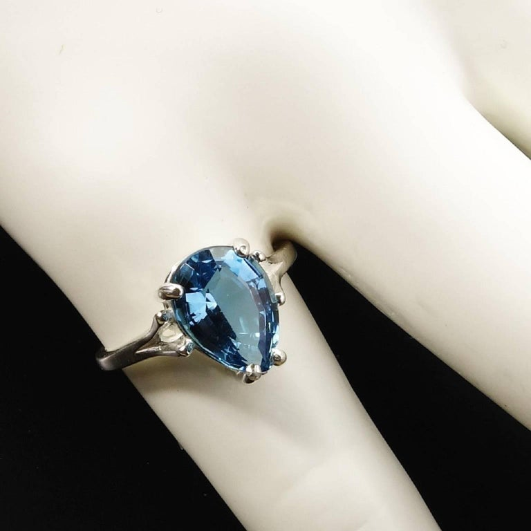 Pear Cut Pear Shape Blue Topaz in Sterling Silver Ring For Sale