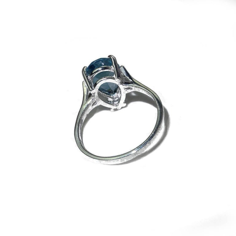 Pear Shape Blue Topaz in Sterling Silver Ring In New Condition For Sale In Tuxedo Park, NY