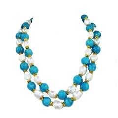 Double Strand Turquoise Agate and Pearls Necklace
