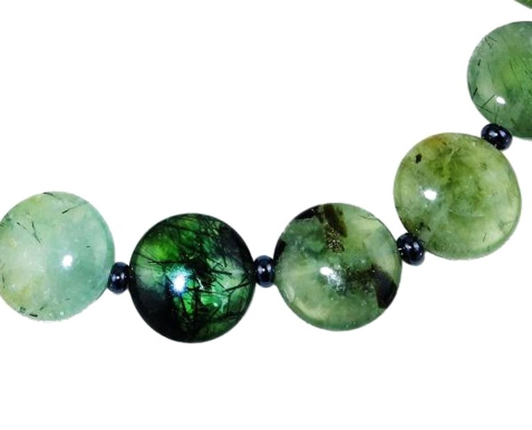 Women's Brazilian Round Prehnite Necklace with Sterling Silver leaf clasp For Sale