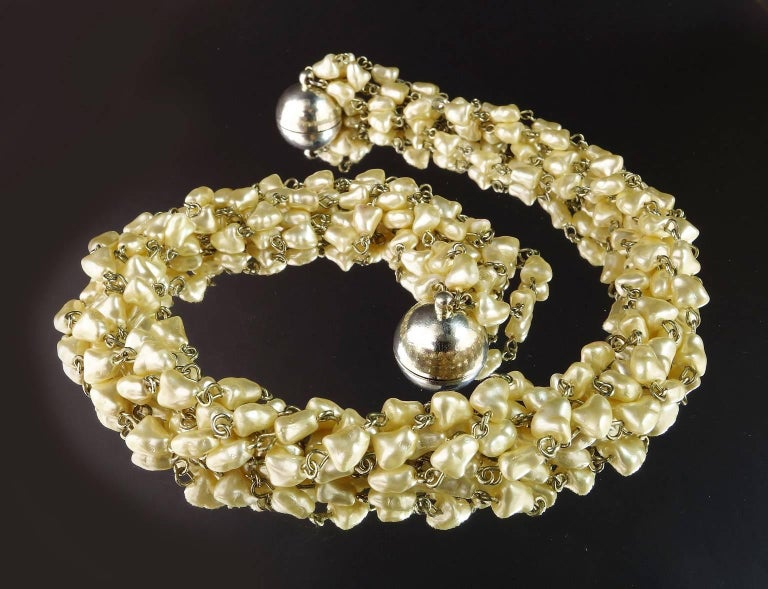 Five strand Pearl Choker Necklace with Magnetic Clasp 2