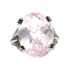 Rose Quartz in Sterling Silver Ring