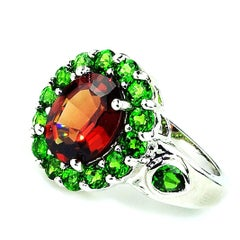Spessartite Garnet with Chrome Diopside in Sterling  Ring January Birthstone