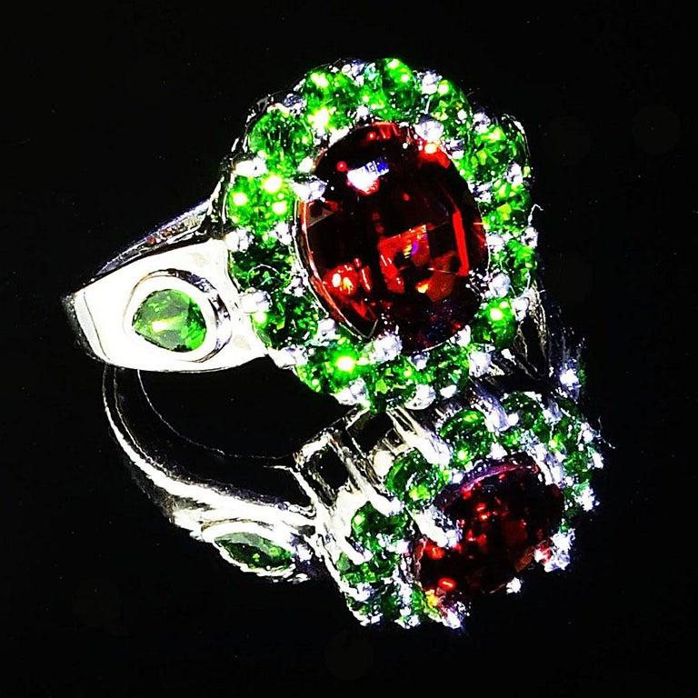 Spessartin Granat mit Chrome Diopside in Sterling Ring Januar Geburtsstein 4