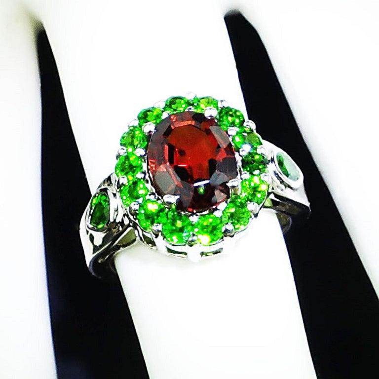 Spessartin Granat mit Chrome Diopside in Sterling Ring Januar Geburtsstein 5