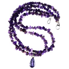 Double Strand Amethyst Necklace with Amethyst Pendant February Birthstone