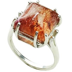 Pink/Orange Imperial Topaz Cabochon in Sterling Silver Ring