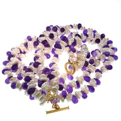 Triple strand Pearl and Amethyst Necklace  February Birthstone