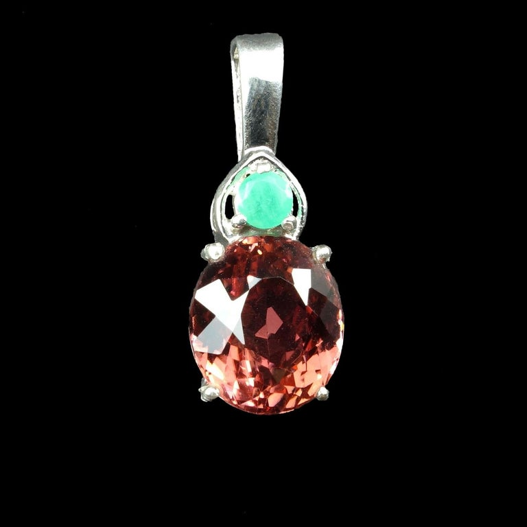 Oval Dark Peach Color Tourmaline and Emerald Pendant in Sterling Silver In New Condition For Sale In Tuxedo Park, NY