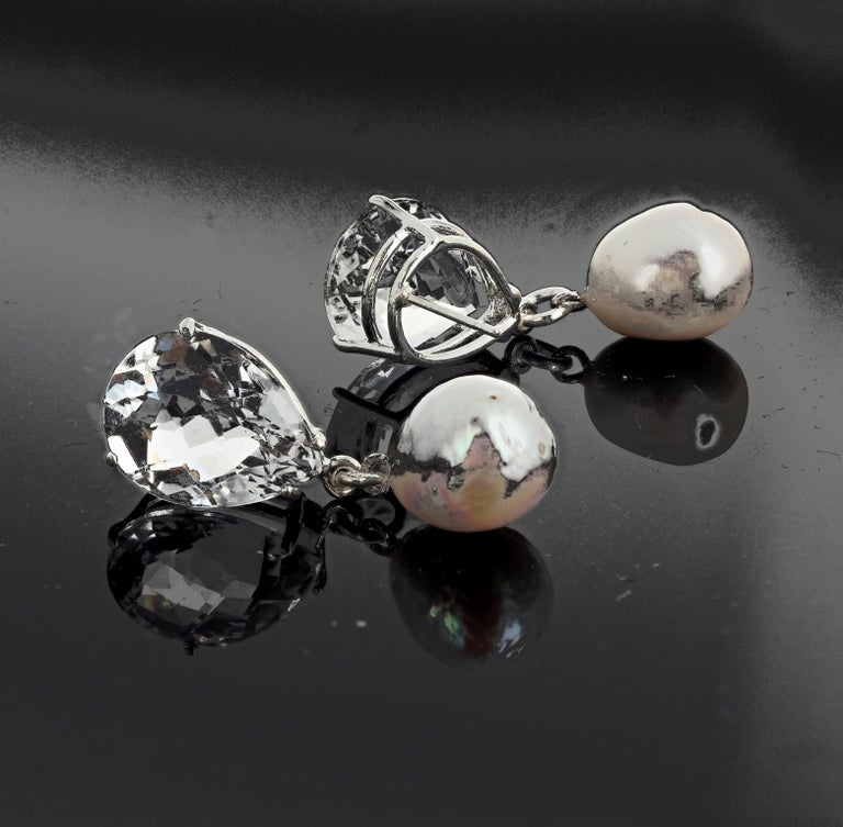 Unique Glittering White Quartz and Pearl Sterling Silver Stud Earrings In New Condition For Sale In Tuxedo Park, NY