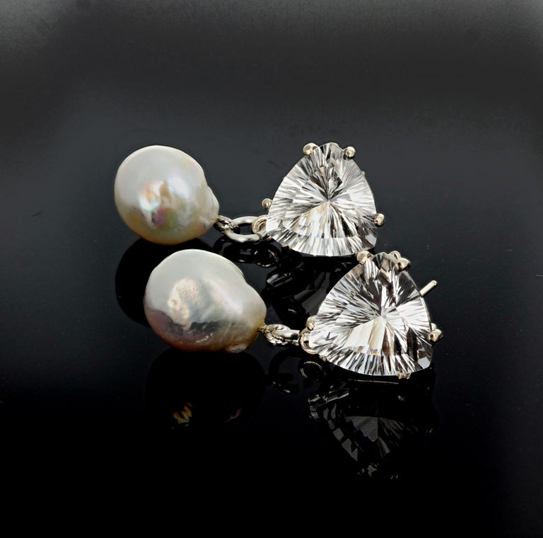 Women's Unique 10.86 Carats White Quartz and Pearl Sterling Silver Stud Earrings For Sale