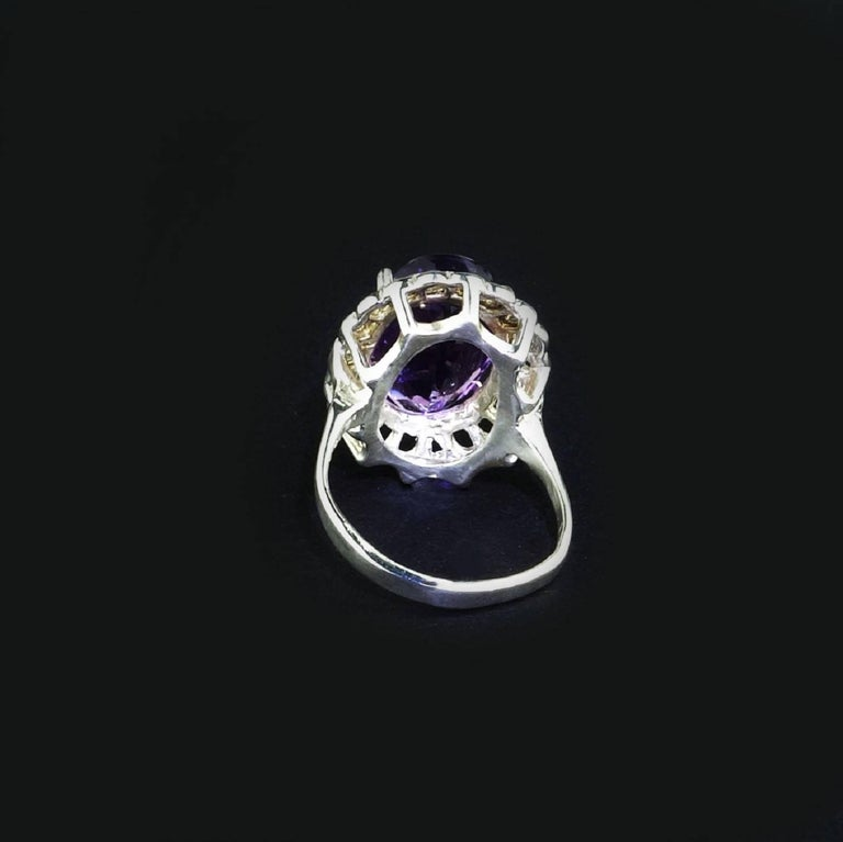 Artisan Amethyst Oval in Detailed Basket Sterling Silver Ring   For Sale