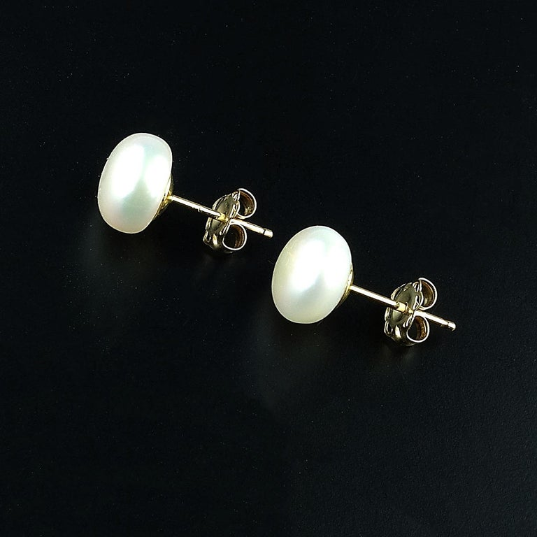 7mm White Pearl Stud Earrings For 4