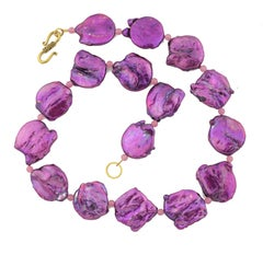 """Gemjunky Amethyst Colored Coin Pearls & Rose of France 19"""" Necklace"""