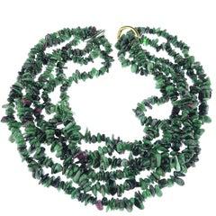 Gemjunky Triple Strand Ruby in Zoisite Necklace